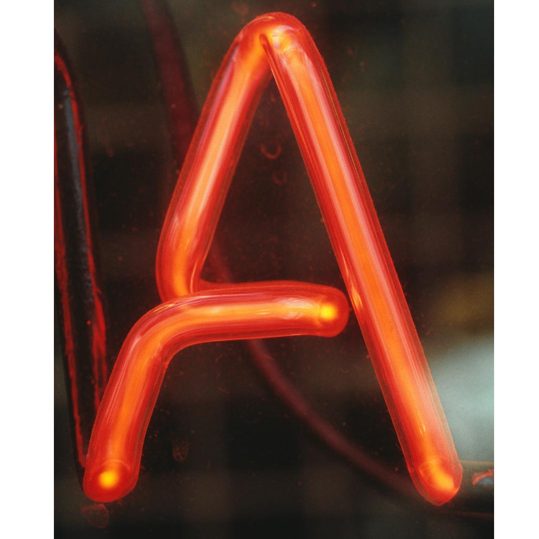 Letter A in Neon sign